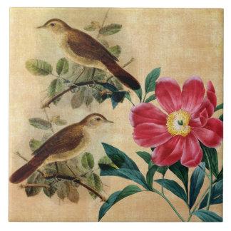 Peony with Nightingales Tile