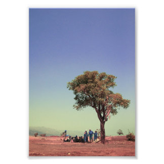 people and tree photo print