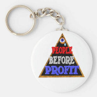 People before profits Occupy wall street protest Basic Round Button Key Ring