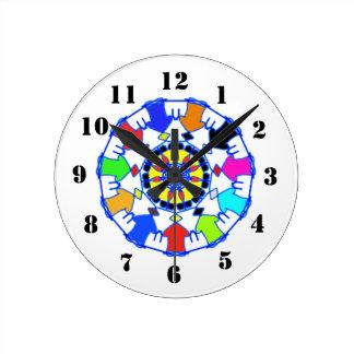 People circle pattern round clock