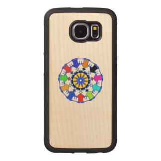 People circle pattern wood phone case