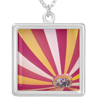 People filling a hot air balloon, Fort Collins, Square Pendant Necklace