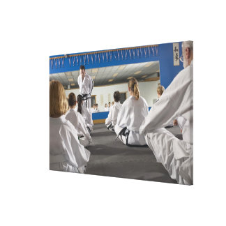 People in a tae kwon do class canvas print