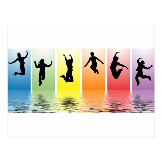 people jumping into water postcard
