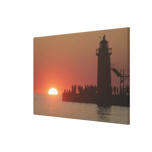 People lighthouse sunset silhouette at South Gallery Wrap Canvas