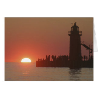 People lighthouse sunset silhouette at South Greeting Card