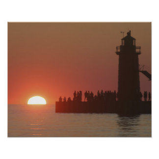 People lighthouse sunset silhouette at South Poster