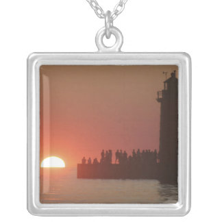 People lighthouse sunset silhouette at South Silver Plated Necklace