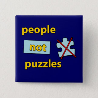 people not puzzles 15 cm square badge
