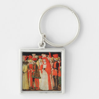People of the Court of the Sforza Family Silver-Colored Square Key Ring