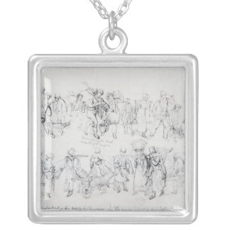 People of Various Occupations Silver Plated Necklace
