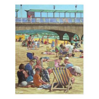 people on Bournemouth beach, Dorset, UK Postcard