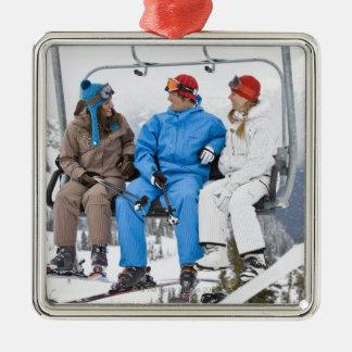 People on Ski Lift, Whistler-Blackcomb, British Silver-Colored Square Decoration