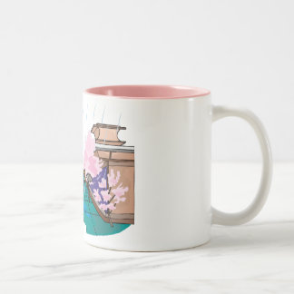 People Out for a Stroll Among Cherry Blossoms Two-Tone Mug