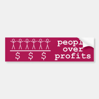 People Over Profits Bumper Sticker