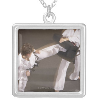People practicing Tae kwon do Silver Plated Necklace