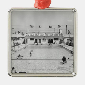 People relaxing in outdoor pool B&W elevated Christmas Ornament