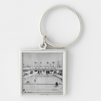 People relaxing in outdoor pool B&W elevated Key Ring