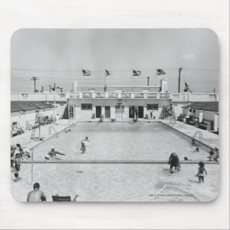 People relaxing in outdoor pool B&W elevated Mouse Mat