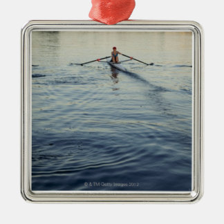 People Rowing Silver-Colored Square Decoration