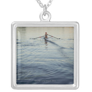 People Rowing Silver Plated Necklace