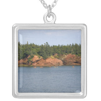 People sea kayaking in the Bay of Fundy at St. Square Pendant Necklace