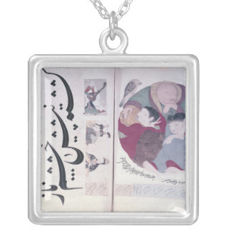 People sleeping and calligraphy silver plated necklace