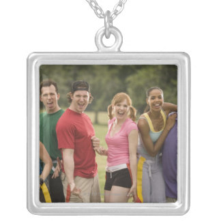 People smiling silver plated necklace