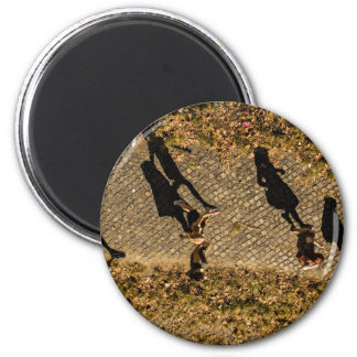 People Themed, Aerial View Of People Walking Makes 6 Cm Round Magnet