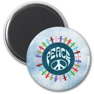 People united around the world in a peace symbol 6 cm round magnet