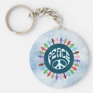 People united around the world in a peace symbol basic round button key ring