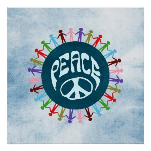 People united around the world in a peace symbol poster