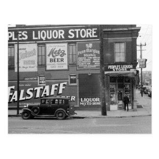 People's Liquor Store, 1938 Postcard