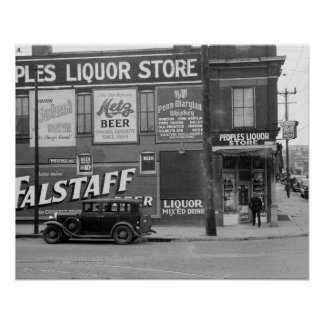 People's Liquor Store, 1938. Vintage Photo Poster
