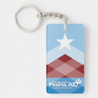 Peoria Flag Keychain, Rectangular Key Ring