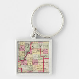 Peoria, Woodford, Tazewell counties Silver-Colored Square Key Ring