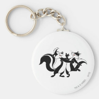 Pepe Le Pew and Penelope 3 Basic Round Button Key Ring