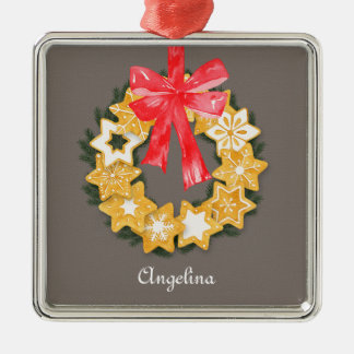 Pepparkakor Christmas Silver-Colored Square Decoration