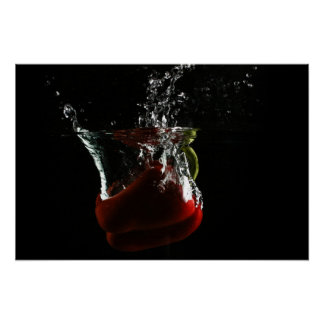 Pepper fall in the water with a black background poster