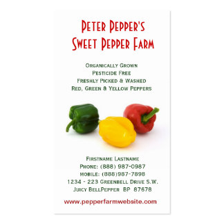 Pepper Farm - Red Yellow Green Bell Peppers Business Card