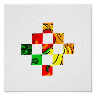 pepper graphic colorful square tiles poster