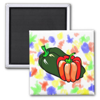 Pepper green and red graphic square magnet