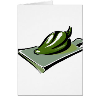Pepper green on cutting board graphic note card