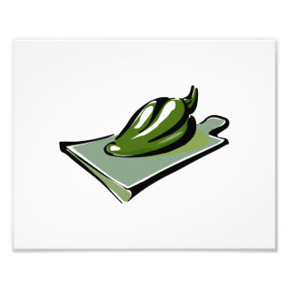 Pepper green on cutting board graphic photographic print