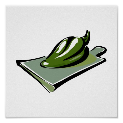 Pepper green on cutting board graphic poster