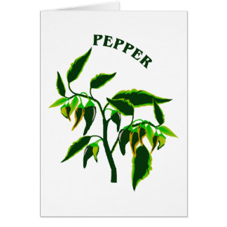 Pepper green plant graphic with word pepper note card