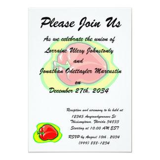 Pepper habanero on bright yellow green 13 cm x 18 cm invitation card