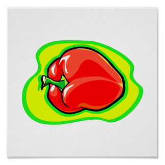 Pepper habanero on bright yellow green.png posters