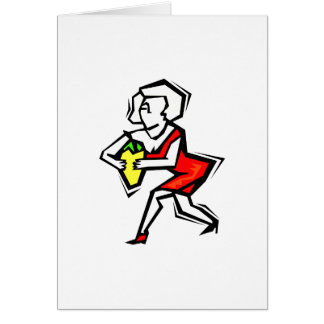Pepper in hand of woman in red dress greeting card