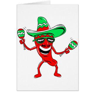 Pepper maracas sombrero sunglasses.png note card